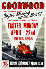 Vintage English Motor Racing Poster 1950s Goodwood Circuit Moss Fangio Retro