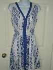 Ladies V-neck 2 tone Patterned Sun Dress. BNWT Black or Blue. S M L XL. (197)