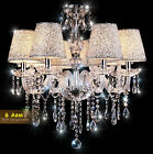 6 Arms - Crystal Chandelier Pendant Lamp Hanging Light Ceiling Lampshade
