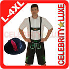 New Mens Oktoberfest Lederhosen German Bavarian Beer Black Fancy Dress Costume