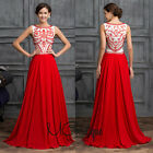 Red Sleeveless Tribal Chiffon Prom Bridesmaid Wedding Maxi Dress Size AU6-20