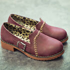Women Faux Leather Vintage Belt Buckle slip on Flats Casual Oxfords Shoes