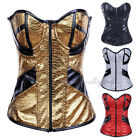 Glitter Faux Leather Zip Corset Lace Up Underwire Basque Biker Girl Costume S-2X