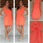 Women Summer Casual Sleeveless Party Evening Cocktail Short Mini Dress ,Orange