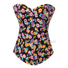 Butterfly Flowers Overbust Boned Corset Outerwear Top Lace Up Body Shaper S-2XL