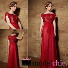 Red Chiffon Lace Evening Prom Bridesmaid Ball Wedding Gown Maxi Dress