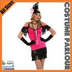 Womens Flapper 1920s Great Gatsby Burlesque Fancy Dress Costume All Sizes Pink
