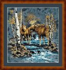 MOOSE MEETING -  14 COUNT CROSS STITCH CHART (DMC THREADS) FREE PP WORLDWIDE