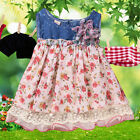Baby Girls Floral Denim Flower Dress Kids A-Lined Party Wedding1-2Y Clothes