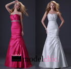 Satin Mermaid Strapless Jewel Prom Bridesmaid Wedding Maxi Dress Size AU6-20