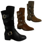 NEW LADIES WOMENS CASUAL FASHION MID CALF FAUX SUEDE BIKER BOOTS SHOES SIZES 3-8
