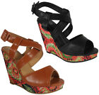 WOMENS LADIES STRAP PEEPTOE PLATFORM HIGH HEEL CHUNKY WEDGE SANDALS SHOE SIZE
