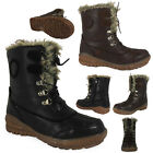 WOMENS LADIES ANKLE LACE UP FUR FLEECE LINED SNOW SKI THERMAL BOOT SHOE SIZE