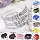 Wrapped 12 Layer Leather Bracelet Crystal Charm Bracelets 21 Color