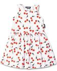 Six Bunnies White Girls Dress with Red Cherries Tattoo Rockabilly PinUp Cherry