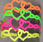 "NEON Hard HEADBANDS 4 styles 4-6 colors Hearts Flowers Smooth 2"" 1/2"" Hair pick"