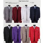 New Men's 3 Button Fashion Suit with Collared Vest,w/Pleated Pants 8 Colors 905V
