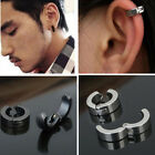 2PCS 316 Stainless steel Mens Women Round Clip on Stud Earrings No Piercing