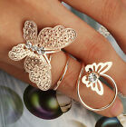 Best Lovely Metal Rhinestone Double Butterfly Spiral Finger Ring Free Shipping