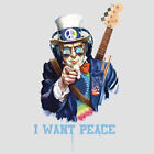Uncle Sam I Want Peace Music Headphones Guitar Party Funny T-Shirt Tee