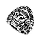 Indian Chief Design Ring, Sterling Silver, Native American w Jewelry Gift Box