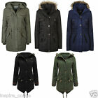 New Ladies Womens Quilted Hooded Faux Fur Parker Parka Military Jacket Coat Size