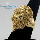 Men's Stainless Steel Gold Silver Leo Lion King head Band Ring
