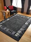 Black Grey Border Design Hall Runners Small Extra Large Long Carpets Rugs Cheap