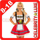Ladies German Beer Maid Oktoberfest Wench Fancy Dress Costume Red Embroidered