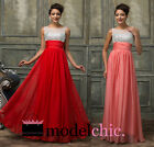Jewelled Crystal Chiffon Prom Bridesmaid Wedding Maxi Dress Size AU6-20