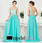 Turquoise Lace Sequins Chiffon Prom Bridesmaid Wedding Maxi Dress Size AU6-20
