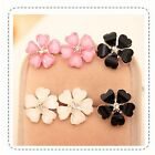 Women Five Leaf Flower Silver Plated Rhinestone Crystal Ear Stud Earrings 3Color