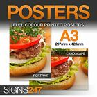 A3 Poster Printing - Full colour LAMINATED WATERPROOF POSTER - 50% OFF