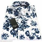 Relco Mens White Blue Floral Long Sleeved Shirt Mod Skin Retro Indie Vintage NEW