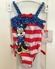DISNEY, 1 PIECE, NWT Girls SWIM SUIT,Minnie Mouse  w' USA Colors, Multi SIZE, KM
