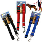 DOG LEAD 2 PIECE STRONG COLLAR PUPPY DOG BLACK RED BLUE HARNESS SAFETY TRAVEL