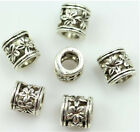100pcs tibet silver cylindrical hollow out flowers european Big hole bead spacer