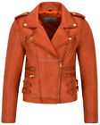 'MYSTIQUE' Ladies Orange Biker Style Motorcycle Designer Nappa Leather Jacket