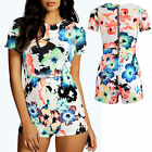 NEW WOMENS NEON FLORAL PARTY SUMMER SHORT SLEEVE PLAYSUITS  8 10 12 14