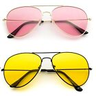 COLOR LENSES Silver Metal Frame AVIATOR SUNGLASSES 70s Retro