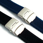 Silicone Deployment Mens Watch Band Strap 20mm 22mm (Style 2 Criss-Cross)