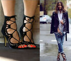 New Womens Fashion Strappy Lace Up Sexy Gladiator Sandals Stilettos Heel Shoes