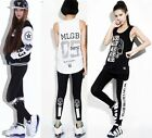 Womens Work Out Graduate Words Leggings Sports Cotton Punk Pants Hiphop Clothing
