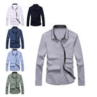 8mil Men Office Casual Long Sleeve Buttons Wrinkles Shoulder Slim Shirt L-XXXL