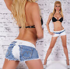 Sexy New Women's Hot Summer Blue And  White Pants Shorts With Studs L 816