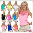 Sexy Women's Embroidered Vest Top Ladies Summer Casual Top Size 8/10,12/14 UK