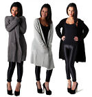 LADIES SUPER SOFT FEEL KNITTED YARN LONG CARDIGAN BLACK CHARCOAL GREY KNIT CARDI
