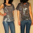 Plenty by Tracy Reese Silver Metallic Sequin One-shoulder Asymmetric Top S L New