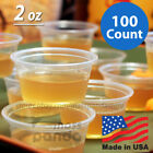 100ct 2 oz Large Jello Jelly Shot Portion Cups with Lids Option, Clear Plastic