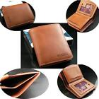 Men's Soft leather Brown Wallet/Purse ID Credit Card Holder Bifold Money Clip  Q